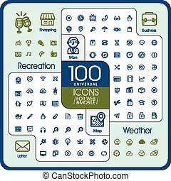 lovely 100 universal icons set for website and mobile