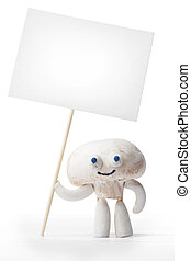 Champignon mushroom holding blank card isolated on white...