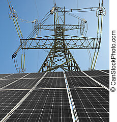 Solar panels with electricity pylon