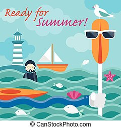 Summer Sea Diver Hand with Paddle - Summer Beach Set
