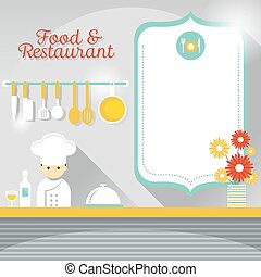 Chef at Restaurant Counter - Shop and People or Chef at...