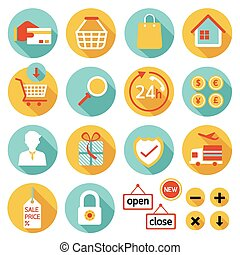 E Commerce, Online Shop, Icons Set