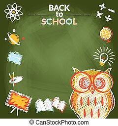 School, Education, Owl Frame Icons - Education, Learning and...