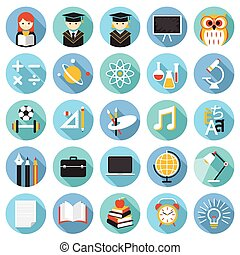 School, Education Icons Set - Education, Learning and Study