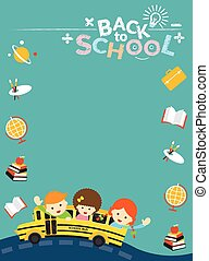School Bus with Student Frame, Icon - Education, Learning...