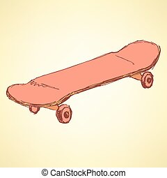 Sketch skate board in vintage style, vector
