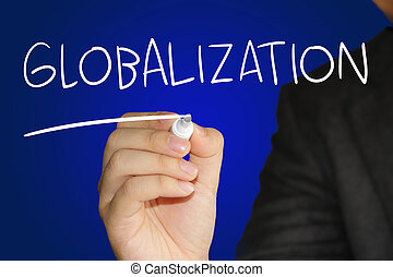 Globalization - Business concept image of a hand holding...