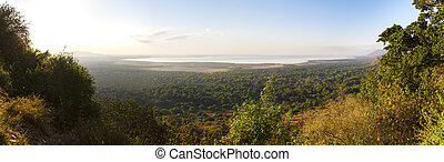 Panorama of Lake Manyara in Africa - Panorama of the...