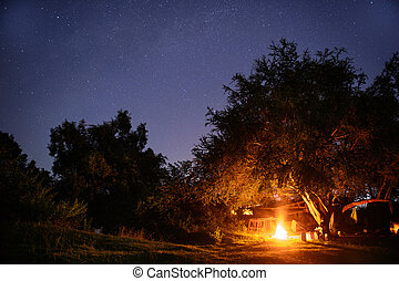 Camping site with startrail