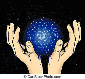 hands to the cosmic energy - Cosmic energy in the palms...