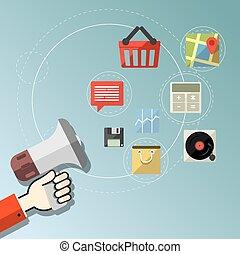 Digital marketing concept - Flat de