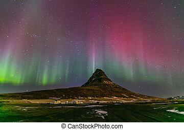 norte, luz, aurora, Islândia,