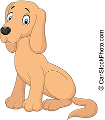 Cartoon dog sitting - Vector illustration of Cartoon dog...