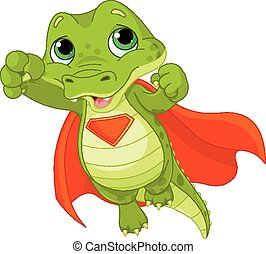 Super Alligator - Illustration of Super Hero Alligator
