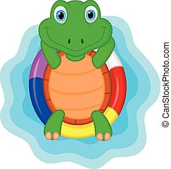 green turtle cartoon relaxing - Vector Illustration of green...