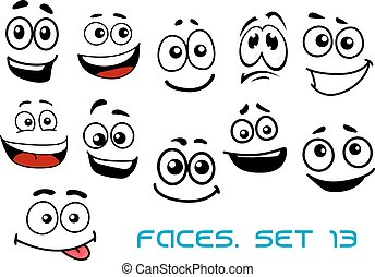 Cartoon faces with various emotions - Cute cartoon emotional...