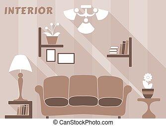 Living room modern interior design in flat style