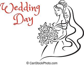 Wedding day card template with young bride - Wedding day...