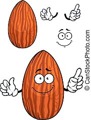 Cartoon shelled almond nut character - Funny cartoon almond...