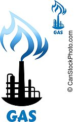 Gas production plant silhouette with blue flame - Gas...