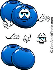Cartoon smiling fresh blueberry characters - Fresh cartoon...