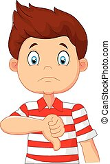 Cartoon boy giving thumb down - Vector illustration of...