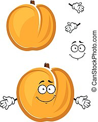 Cartoon cute apricot fruit character with fuzzy skin - Sunny...