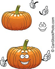 Funny pumpkin vegetable cartoon character