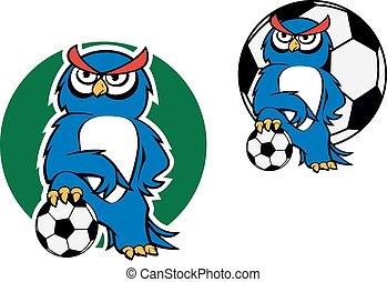 Cartoon owl character with football ball - Cartoon blue owl...