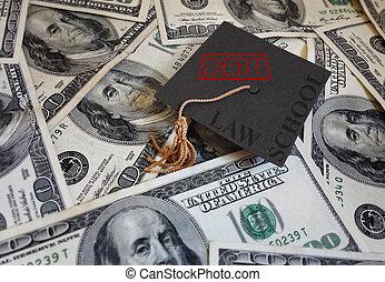 Law School debt - Miniature graduation cap with Law School...