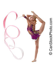 Graceful artistic gymnast performs with ribbon