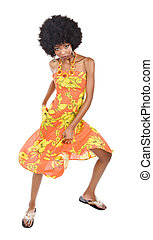 African woman dancing - Is summer time, people are dancing,...