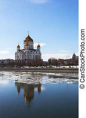 Cathedral of Christ the Saviour  in Moscow in the spring