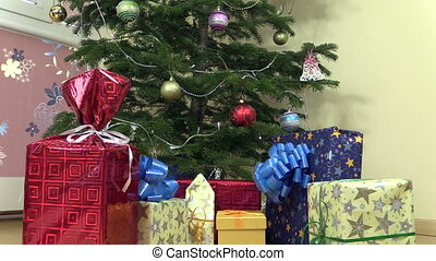 present christmas tree - Decorated christmas fir tree with...