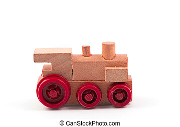 train toy - toy train wood on white background