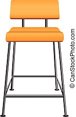 Wooden stool - A wooden stool with a back on steel legs....