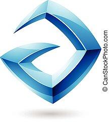 3d Sharp Glossy Blue Logo Shape