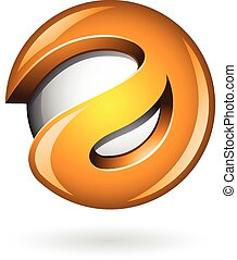 3d Glossy Orange Logo Shape