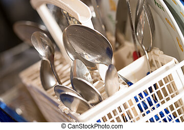 dishwasher - dirty dishes and dishwasher detergent