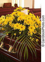Flowers on Casket - Flowers from the family on a casket at a...