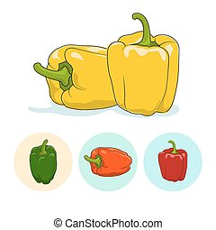 Icons bell pepper,sweet pepper or capsicum - Yellow bell...