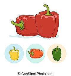 Icons bell pepper,sweet pepper or capsicum - Red bell pepper...