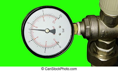 Water pressure meter installed with green screen, Full HD