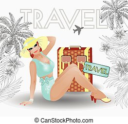 Summer travel pin up sexy women, vector illustration