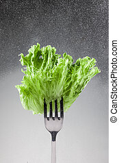 Green lettuce leaves on a fork on gray background