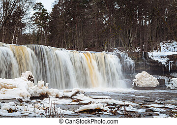 Estonian winter panorama waterfall, Keila Joa, Harjumaa