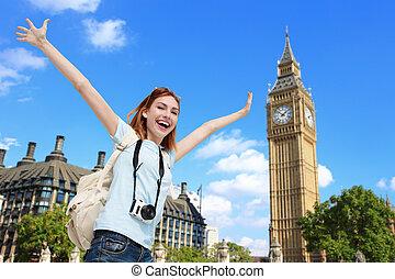 Happy travel woman in London - Happy woman travel in London...
