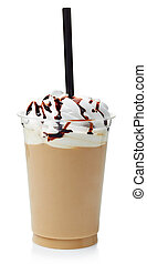 Frappe - Coffee frappe covered with whipped cream in plastic...