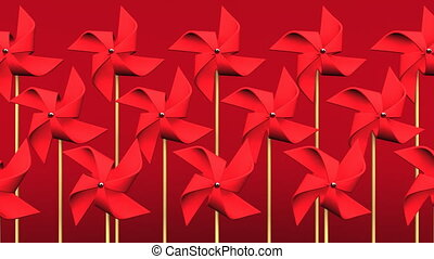 Red Pinwheels On Red Background.