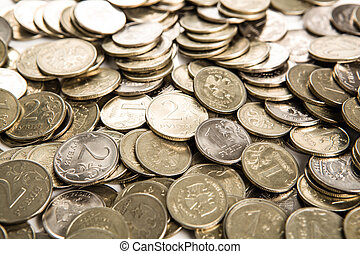 bunch of Russian rubles in the form of coins close up